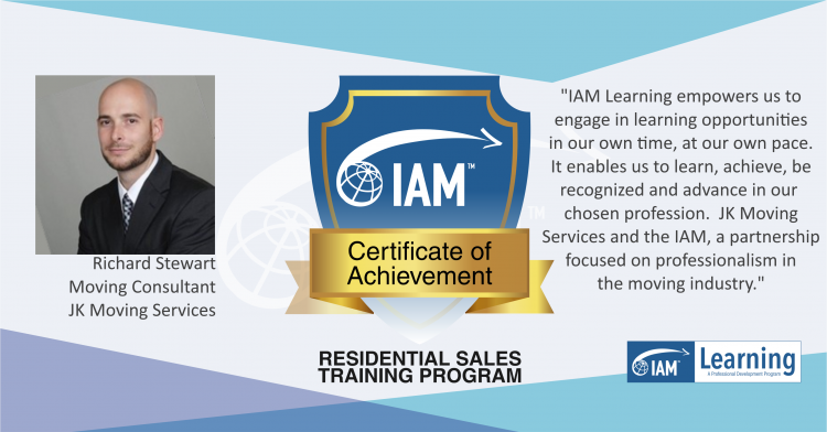 Rich Stewart IAM Certificate of Achievement